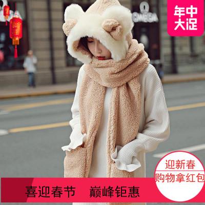 2019韩国帽子围巾一体女冬甜美可爱手套三件套秋冬保暖加绒百搭保暖帽