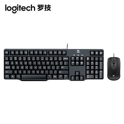 【羅技旗艦店】羅技(Logitech)MK100 2代 有線鍵鼠套裝圓孔接口鍵鼠套裝有線辦公家用鍵盤鼠標