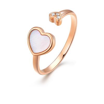 阿瑪莎 浪漫愛心18K金玫瑰珍珠母貝殼鉆石戒指指圈
