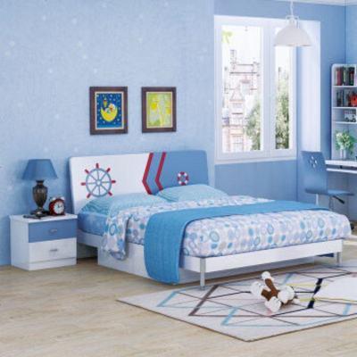 夢引 兒童床男孩單人床藍色1.2米小孩青少年房臥室成套家具組合套裝