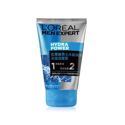 欧莱雅(LOREAL)男士水能润泽双效洁面膏100ml 深层清洁 保湿补水 各种肤质 洗面奶洁面乳 L'OREAL