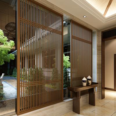 新中式屏風隔斷實木簡約現代客廳酒店餐廳樣板房隔斷花格柵欄鏤空邁菲詩