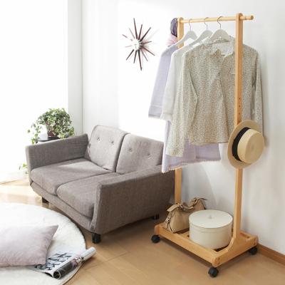 越茂 实木衣帽架创意移动落地衣架卧室挂衣架衣服架子玄关置物架