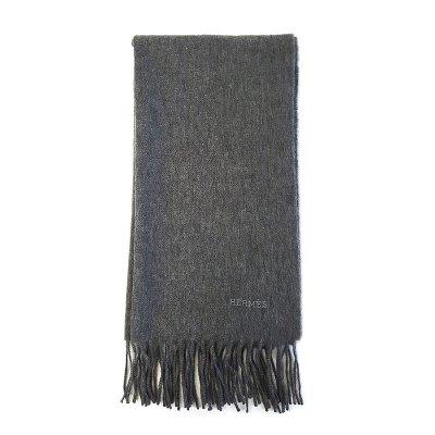【正品二手95新】愛馬仕(Hermès)灰色羊絨 披肩圍巾 100%山羊絨 含盒