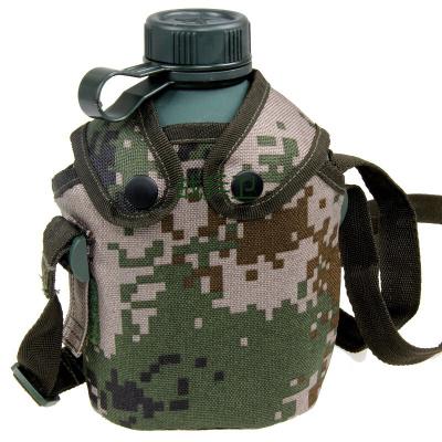 戰兵衛10新式軍迷用品斜跨式戶外迷彩水壺 可裝熱水 1L 加厚內膽 軍綠色