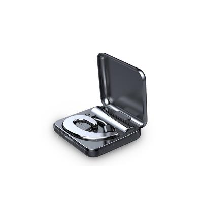 夏新S9不入耳藍牙耳機無線迷你超小掛耳式運動開車骨傳導概念耳機(科技銀色耳機帶充電收納倉)