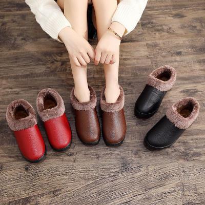 冬季女式雪地保暖妈妈棉鞋短筒平底居家软底拖鞋加绒防滑