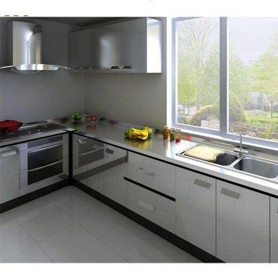 現代簡約304不銹鋼整體櫥柜定做石英石臺面灶臺廚房廚柜門定制 不銹鋼地柜 1米