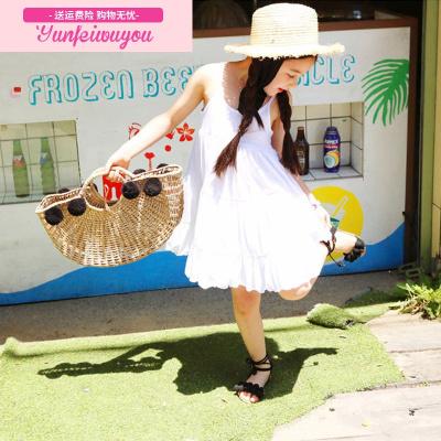 女童带连衣裙夏2018新款韩版中大童露背宽松沙滩裙儿童海边度假