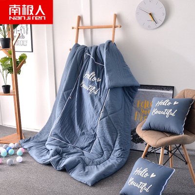 南極人(NanJiren)家紡 抱枕被子兩用汽車多功能50X50cm靠墊被加厚水洗棉纖維空調被辦公室午睡被毯子