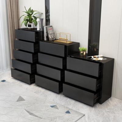 檀星星北歐現代簡約五斗柜儲物柜黑色三四斗櫥實木抽屜式收納柜邊柜