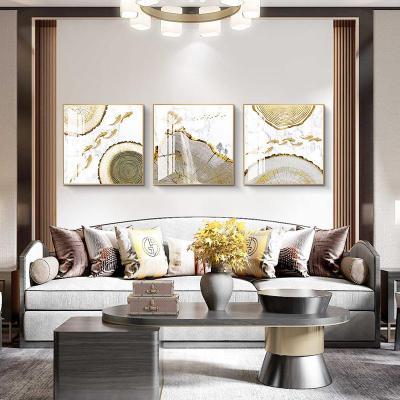 19317 80*80質感晶瓷畫面LB(棉麻油畫布+金屬邊框+高透有機玻 現代輕奢九魚圖餐廳飯廳裝飾畫正方形簡約客廳沙發