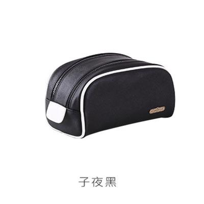 韓版PU化妝包 創意簡約便攜式洗漱包 多功能拉鏈收納包 黑色