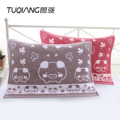 图强 2条纯棉枕巾加厚一对加大枕头巾柔软舒适全棉情侣枕巾