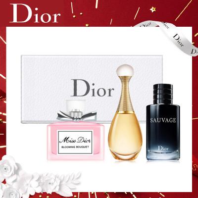 迪奧(Dior) 女士淡香水持久香氛 中樣 禮盒版(真我5ml+迪奧小姐5ml+曠野男士10ml)情人節禮物 生日禮物