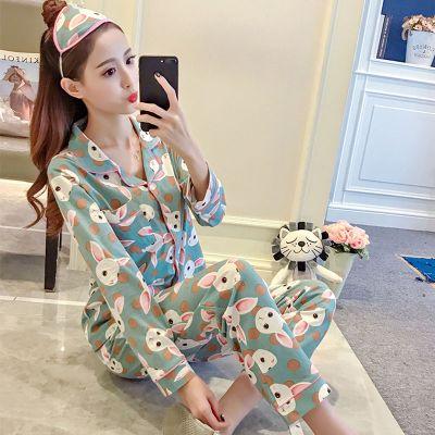 睡衣女春秋季月子服孕婦開衫長袖韓版學生可愛女士外穿家居服套裝 莎丞