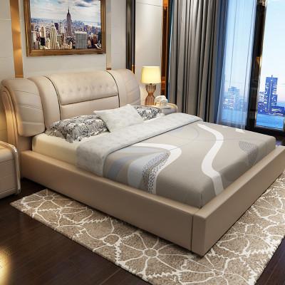 歐卡森(OUKASEN)藝術臥室皮床時尚木質皮質軟床簡約現代雙人1.8 1.5米高箱帶抽軟體結婚床 1.8*2.0普通床