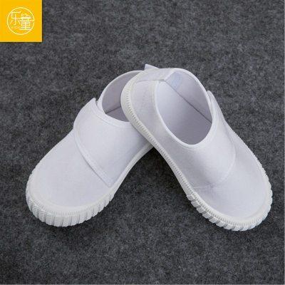 幼儿园小白鞋男女童室内外帆布鞋学生六一运动鞋白色透气软底网面