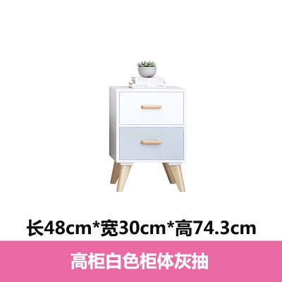 北歐實木電視柜現代簡約小戶型電視柜茶幾組合小型臥室邊柜套裝 高柜白色柜體白灰抽 組裝