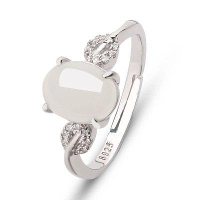芭法娜 天然和田玉戒指s925银镶嵌 活圈可调节 附证书