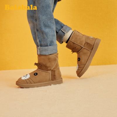 巴拉巴拉女童短靴兒童雪地靴男童2019冬季新款靴子加絨加厚小童鞋