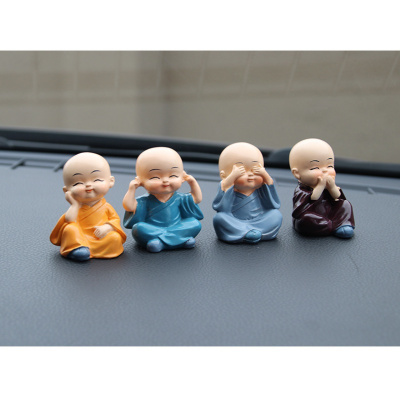 汽車擺件四不和尚車用卡通玩偶小沙彌擺件汽車內飾用品樹脂工藝品 四不小和尚