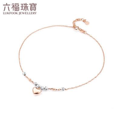 六福珠寶圓珠心形18K金腳鏈腳飾 定價 L18TBKB0029D