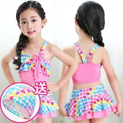 【精品好貨】兒童泳衣女分體中大童泳裝 裙式學生韓版比基尼套裝小公主 游泳衣 邁詩蒙