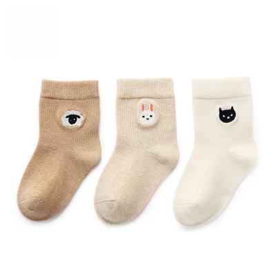 magtoe/麦可兔 麦可兔童袜(三双装) 春秋彩棉绣花平板袜子男童女童0-3岁舒适透气MS8002
