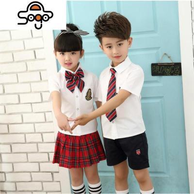 幼兒園園服夏裝白襯衣紅格短裙套裝小學生校服班服兒童合唱演出服
