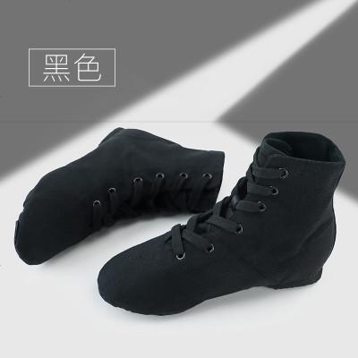 高帮成人爵士靴舞蹈鞋女软底练功鞋帆布黑色芭蕾经典儿童现代舞鞋