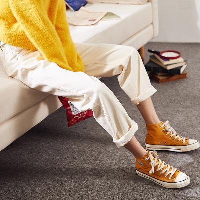 唐狮2018秋季新款高腰红白色牛仔裤女怪味少女裤直筒宽松老爹裤