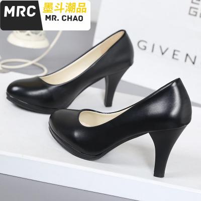女黑色软皮高跟鞋职业面试白色中粗跟工装鞋礼仪鞋大码女鞋