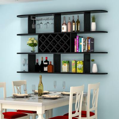定制酒柜壁掛酒架吊柜餐廳墻上置物架簡約現代紅酒格子 三層黑色1.6米(11格)