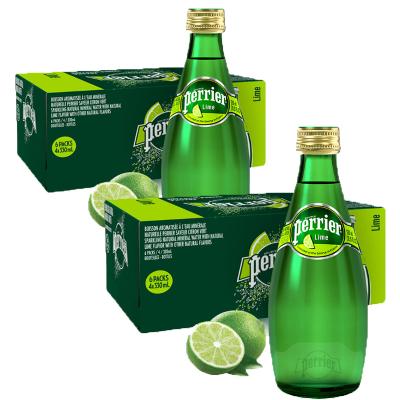 2件装|巴黎水Perrier气泡矿泉水(青柠味) 玻璃瓶装 330ml*24瓶/箱