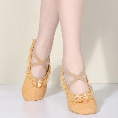 热卖儿童舞蹈鞋软底女蕾丝边猫爪鞋花边芭蕾舞鞋练功鞋蝴蝶结白舞蹈鞋