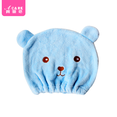 藍色1個#acare干發帽卡通動物造型快速吸水毛巾擦頭發包頭巾沐浴帽