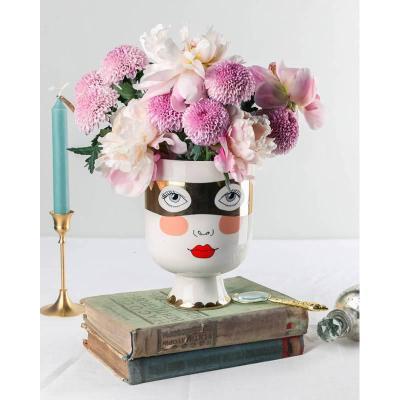 Lovely回饋價出口歐美雙面表情金色陶瓷花瓶花插花器擺件【定制】 1件入