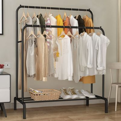 衣帽架简易晾衣架家用落地卧室内单双杆式凉晒衣杆挂衣服架子阳台