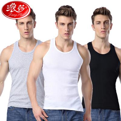 浪莎3件男士背心 純棉青年透氣 夏季寬松汗衫 吊帶運動打底
