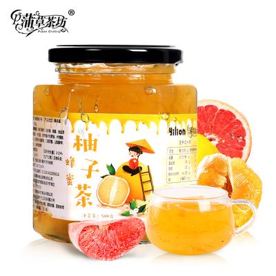 【买即送勺】蒲草茶坊水果茶蜂蜜柚子茶500g韩国风味果粒茶果味茶