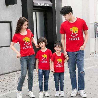 大碼薄款親子裝新款親子夏裝短袖純棉T恤一家三口全家裝母女裝130cm;爸爸XL;100cm諾妮夢