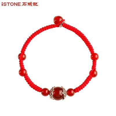 石頭記錦上添花紅瑪瑙手鏈女銀手串 編織新年水晶紅繩手鏈