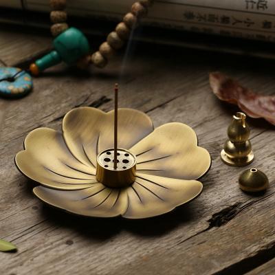 樱花纯铜仿古香炉香插 家用室内檀香盘香炉点香托 沉香线香炉香座