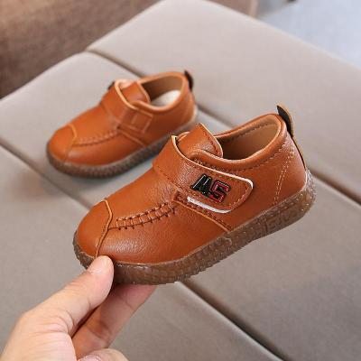 莎丞 2019春秋黑男女童皮鞋休閑鞋軟底兒童寶寶豆豆鞋子1234歲單鞋