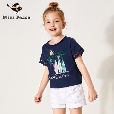 女童夏装宽松薄上衣蕾丝边透气凉爽儿童T恤短袖minipeace新款