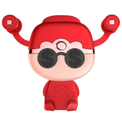 (紅色)ZHUAX財神可愛車載手機架出風口車內車用車上支撐架汽車手機支架導航架創意重力感應萬能通用財神爺塑料送禮