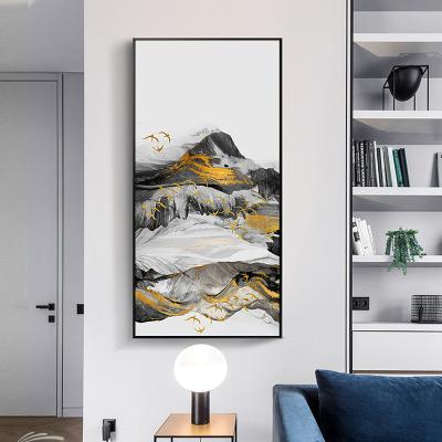 舒廳 玄關裝飾畫現代輕奢晶瓷畫金色琉璃抽象山水掛畫客廳沙發背景壁畫美 極光D款(拉絲黑色)鋁合金外框高100*寬50cm