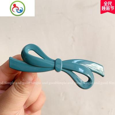 韓國莫蘭迪色小號蝴蝶結彈簧夾簡約百搭半丸子發夾發卡夾子發飾 JING PING