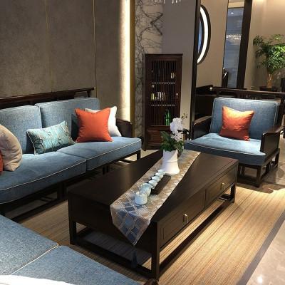 新中式沙發組合客廳禪意中式實木布藝沙發中國風樣板房定制家具